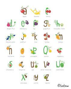 8 x 10 Alphabet Fruit Illustration Print
