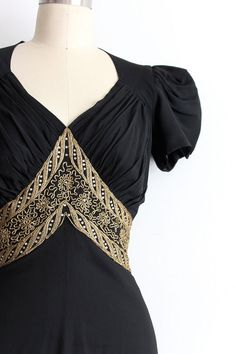 vintage 1930s gown // 30s black evening dress by TrunkofDresses ~