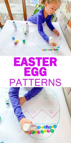 Easter Egg Patterns – HAPPY TODDLER PLAYTIME Here is a fun early math activity to do during Easter! Easter Egg Patterns is an easy to set up pattern making activity that is great for preschoolers and kindergartners. Easter Activities For Kids, Spring Activities, Toddler Preschool, Toddler Crafts, Math Activities, Toddler Activities, Preschool Activities, Crafts For Kids, Preschool Kindergarten