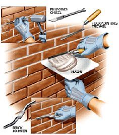 Tuckpointing : process of removing deteriorating mortar from surface and inserting fresh mortar