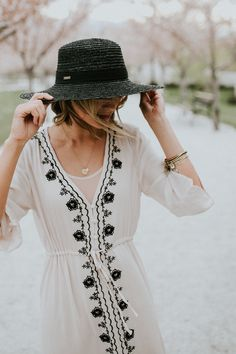 Cream Embroidered Dress | ROOLEE