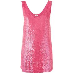 P.A.R.O.S.H. sequin tank top ($343) ❤ liked on Polyvore featuring tops, pink, sequin tanks, sequin tank top, sequin top, sequin embellished top and pink sequin tank top