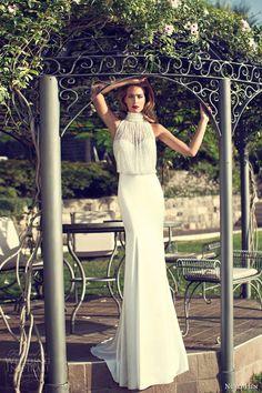 nurit hen bridal summer 2014 sleeveless halter neck blouson wedding dress