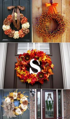 fall door wreaths going to be my project tomorrow pay day so looking for some cool ideas Wreath Crafts, Diy Wreath, Door Wreaths, Autumn Wreaths For Front Door, Wreath Ideas, Fall Crafts, Diy Crafts, Ideias Diy, Fall Projects