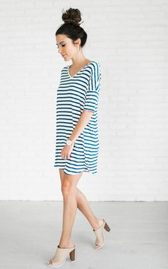 Striped shirt dress--trust me you need this in your closet