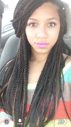 Box braids Twists Pink Lipstick sweater