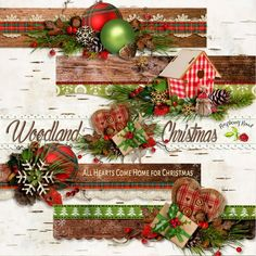 """A set of nature themed Christmas stacked and decorated 12"""" page borders designed to coordinate with the Woodland Christmas collection from Raspberry Road."""
