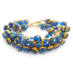 Chunky Cluster Bracelet Blue & Gold Striped by MoonlightShimmer