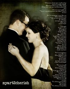 Lyrics from your first dance wedding song on canvas.  Great gift idea for anniversary!!   $69.00, via Etsy.