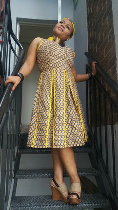 African Party Dresses, African Print Dresses, African Fashion Dresses, African Attire, African Dress, Seshweshwe Dresses, Cute Dresses, Designer Blouse Patterns, Dress Patterns