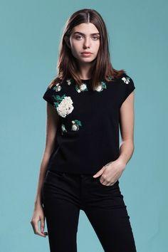 a91905c77ea7 heavily hand beaded knit top black wool floral beading sleeveless vintage  60s MEDIUM LARGE M L Vintage
