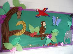 A beautifully designed 'Monkey Puzzle' wall display .by steve and jemma cobley at flckr Forest Classroom, Eyfs Classroom, Infant Classroom, Classroom Displays, Classroom Themes, Library Displays, Craft Activities For Toddlers, Creative Activities, Preschool Jungle