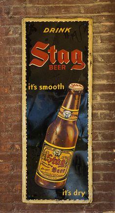 Vintage Old Drink Stag Beer Sign Dsc07183