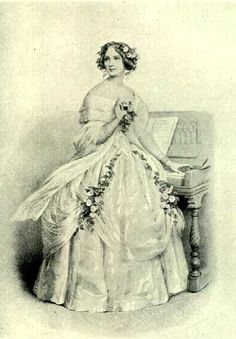 """Lithograph of Jenny Lind performing one of her Scandinavian signature-songs """"The Norwegian Echo Song"""" (Act. 2 """"Magnolia"""" of """"The Composer and The Nightingale""""). Jenny Lind, Civil War Dress, Portrait Sketches, Vintage Romance, Opera Singers, Nightingale, Old Art, Fashion Plates, Vintage Photos"""