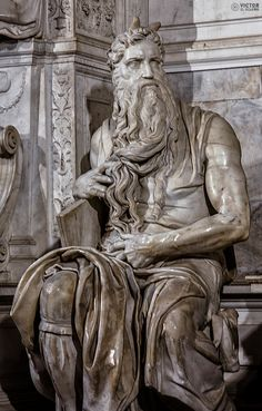 """Moses""by Michelangelo Buonarroti, located at San Pietro Basilicum,Vatican City,Rome Michelangelo Artwork, Michelangelo Sculpture, Roman Sculpture, Rennaissance Art, Cement Art, Greek Statues, Found Art, Greek Art, Historical Art"