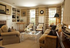 Sumptuous buffalo check curtains in Living Room Traditional with Board And Batten Walls next to Wainscoting Height alongside Tan Walls and Gold Sofa