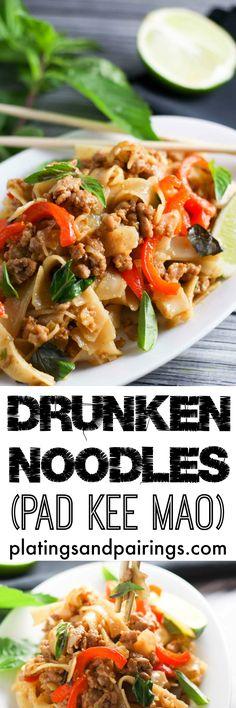 Pad Kee Mao (Drunken Noodles) platingsandpairings.com