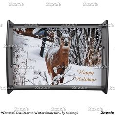 Whitetail Doe Deer in Winter Snow Serving Tray