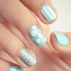 56 Ideas para que pintes tus uñas color celeste - light blue nails   Decoración de Uñas - Nail Art - Uñas decoradas - Part 5
