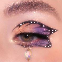 Dope Makeup, Indie Makeup, Edgy Makeup, Makeup Eye Looks, Eye Makeup Art, Crazy Makeup, Pretty Makeup, Butterfly Makeup, Butterfly Eyes