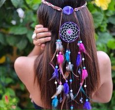Delilah Bohemian Headband-pink and purple dream catcher headband … Mais Purple Dream Catcher, Look Boho Chic, Beautiful Dream Catchers, Dream Catcher Craft, Bohemian Headband, Hippie Headbands, Feather Headband, Suncatchers, Dreamcatchers