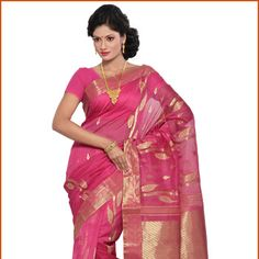 Pink Pure Silk and Cotton Dhakai Jamdani Saree with Blouse