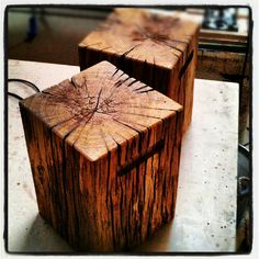 Chunky, heavy patio stools made from old Oak beams by jdwoodwork.co.uk