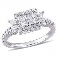 1 ctw Princess-cut with Multi-shape Diamond Engagement Ring in 14K White Gold