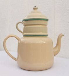 Rare French Biggin VTG Coffee Pot Enamelware Cream Antique 4 Piece Double Handle