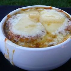 The classic French onion soup you crave is just like the one from the restaurant, full of beefy broth and topped with a slice of toasted French bread and 2 kinds of cheese. Red wine adds an authentic flavor.
