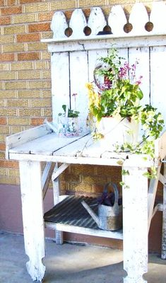 Garden Potting table. White Cottage Shabby by 3vintagehearts