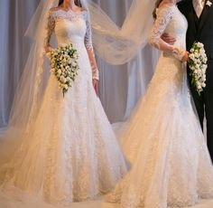 Hot Long Sleeve Wedding Dress Lace Bridal Gown Custom Size 6 8 10 12 14 16 in Clothing, Shoes & Accessories, Wedding & Formal Occasion, Wedding Dresses Lace Wedding Dress With Sleeves, Applique Wedding Dress, Long Sleeve Wedding, Dress Lace, Lace Applique, Tulle Lace, Beaded Lace, 2015 Wedding Dresses, Bridal Dresses