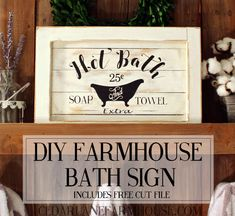 "How I made the ""Hot Bath"" sign that added some vintage charm. I love how this sign turned out it really adds character to my farmhouse style bathroom. Country Farmhouse Decor, Farmhouse Signs, Farmhouse Style, Farmhouse Ideas, Farmhouse Decor Bathroom, Vintage Bathroom Decor, Bath Decor, Shabby Chic Vintage, Shabby Chic Homes"