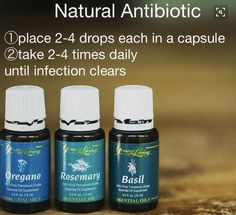 Natural antibiotic using Young Living Essential Oils Anybody interested in purchasing the oils or learning more let me know!