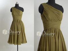 Hot Sale Olive Chiffon Short Bridesmaid Dress,Olive Bridal Party Dress/Homecoming/Formal Dress,Short Olive Green Bridesmaid Dress(BM032230)