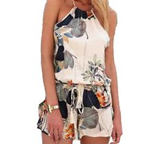 Sheng Xi Womens Slip Print Vintage Backless Rompers Shorts Playsuit Color S ** Read more at the image link.