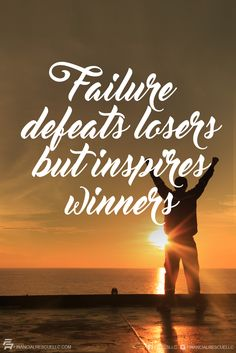 Failure defeats losers but inspires winners. #quote #quoteoftheday #motivation #success