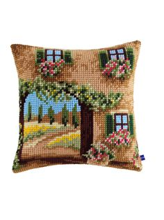 Crochet Cushions, Crochet Pillow, Crochet Art, Basic Embroidery Stitches, Learn Embroidery, Embroidery Patterns, Cross Stitch Cushion, Cross Stitch Rose, Cross Stitch Designs