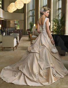 Champagne wedding gowns are beautiful in almost any style.