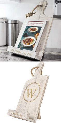 For the maid or matron of honor, bridesmaid, mom, sister, friend or anyone who loves to cook, this antiqued white wood iPad and recipe book stand personalize with either a circled large single initial or custom line of print is a useful gift idea sure to bring joy in the kitchen every day. This stand can be ordered at http://myweddingreceptionideas.com/personalized-white-wood-ipad-recipe-book-stand.asp