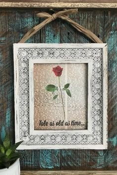 Beautiful Free Printable And DIY Tutorial For This Fun Crafting Project For A DIY Home  Decor: Beauty And The Beast Antique Book Art DIY