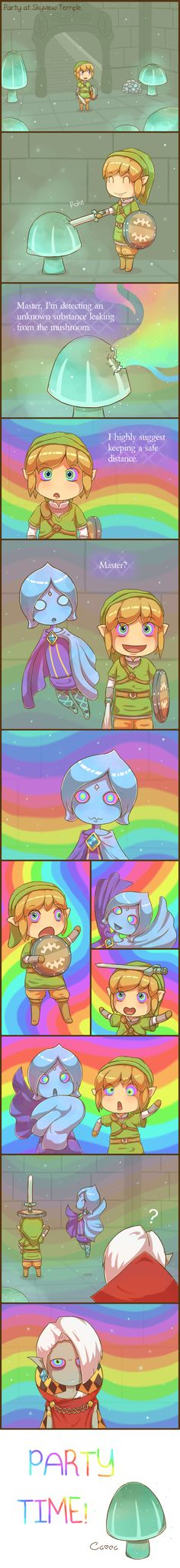 Skyward Sword: Party at Skyview Temple by *Cavea on deviantART (lol...)