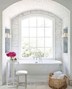 This bathroom is dreamy!!!! Designed by @joannagaines  good morning friends