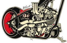 Motorcycle Illustration - Harley Davidson.Copyright David Vicente © 2012 - All rights reserved
