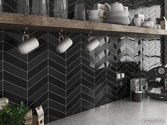 Chevron Wall Black Gloss & Matt 18,6x5,2