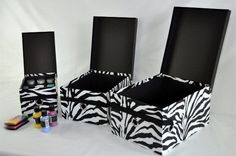 Set of zebra boxes for 24$ great for craft storage!   Www.mycleverbiz.com/ashleyrussell