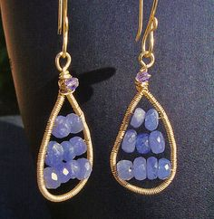 Gold and Tanzanite Tear Drop Earrings