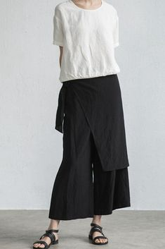 Summer Loose Irregular Lapped Linen Culotte Women Pants LT Design L1454
