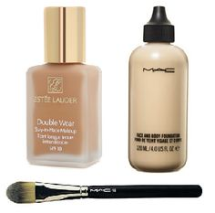Two of the best foundations for very pale skin: MAC (pro) in white face and body  to lighten & Estee Lauder double wear for staying power
