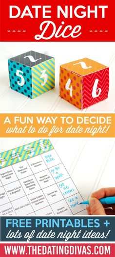 How fun is this? Roll the date night dice to determine which fabulous date night idea you will do! www.TheDatingDivas.com